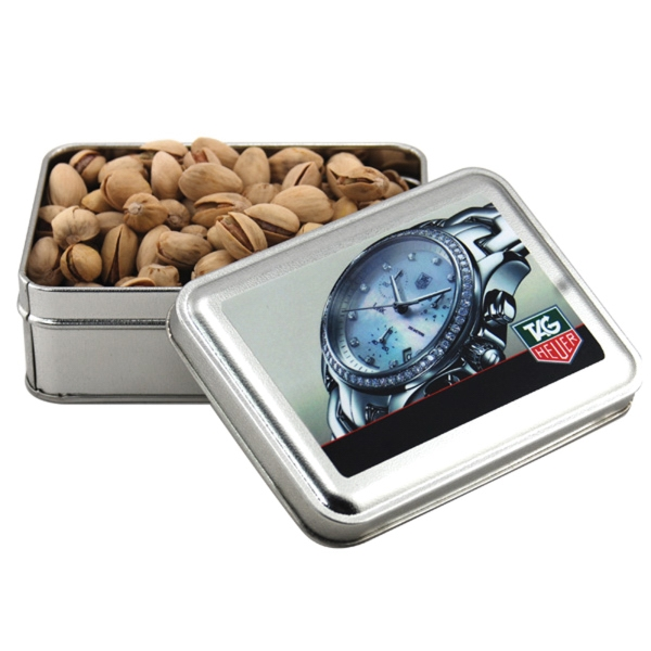 Pistachios in a metal gift box with lid