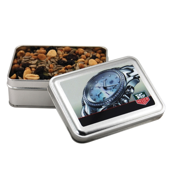 Trail Mix in a metal gift box with lid