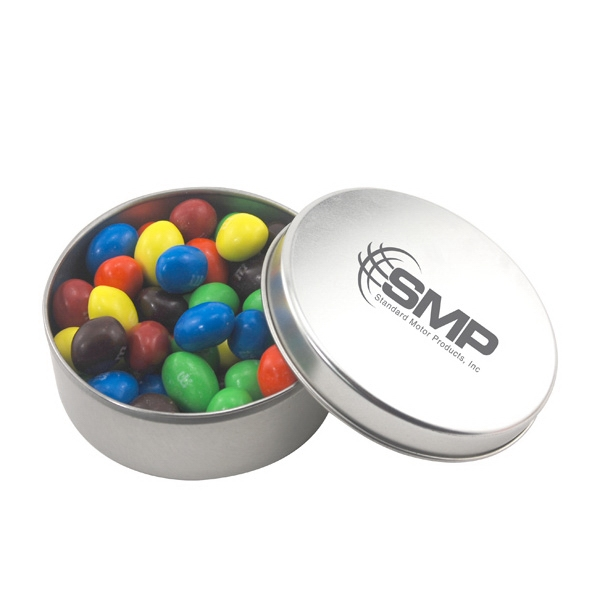 Large Round Metal Tin with Lid and Peanut M&M's