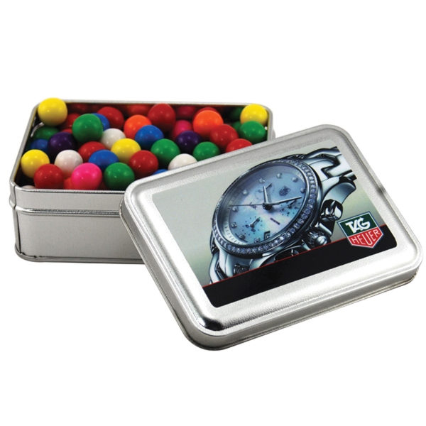 Gumballs in a metal gift box with lid