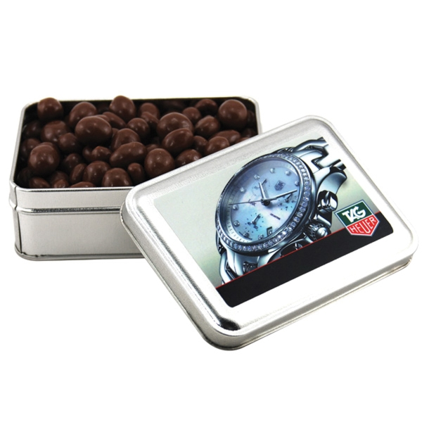 Chocolate Covered Peanuts in a metal gift box with lid
