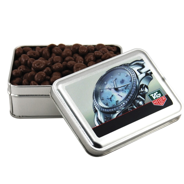 Chocolate Covered Raisins in a metal gift box with lid