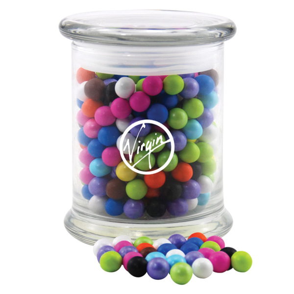 Sixlets Candy in a Large Round Glass Jar with Lid