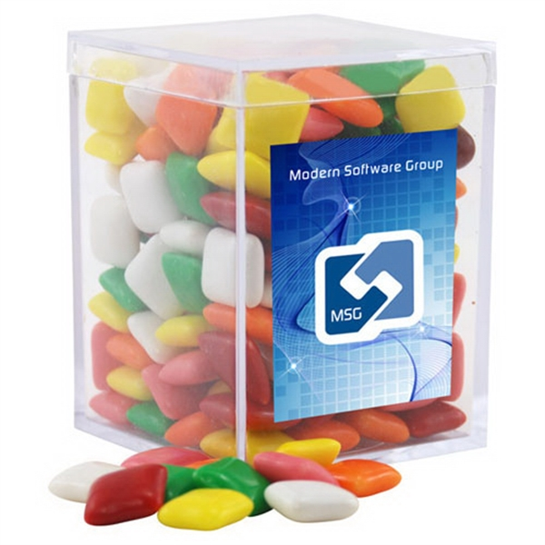 Mini Chicklets Gum in a Clear Acrylic Square Box
