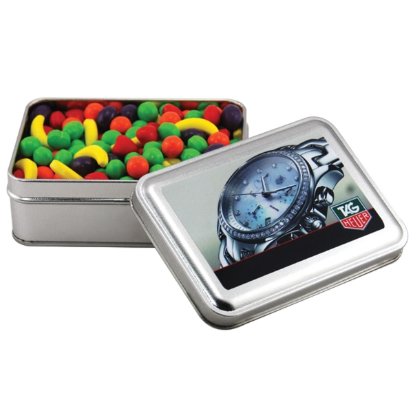 Runts Candy in a metal gift box with lid
