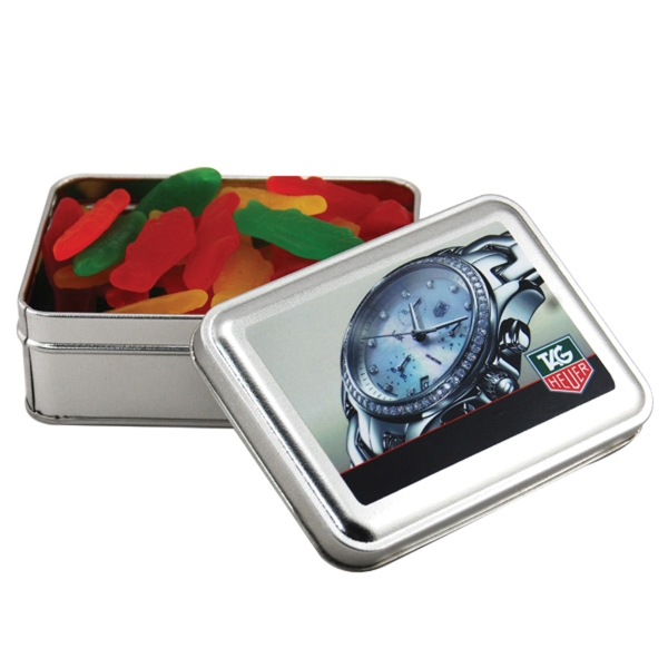 Swedish Fish in a metal gift box with lid