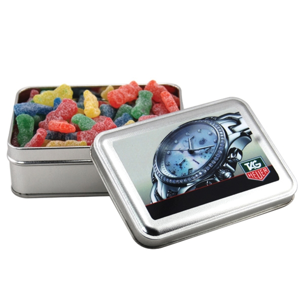 Sour Patch Kids in a metal gift box with lid
