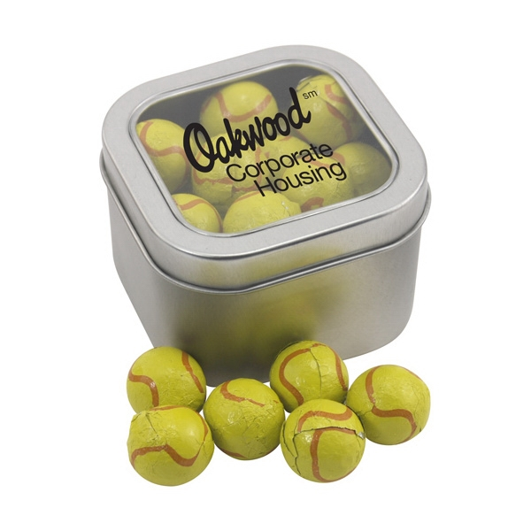 Large Tin with Window Lid and Chocolate Tennis Balls