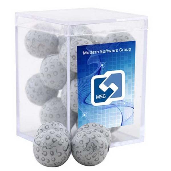 Chocolate Golf Balls in a Clear Acrylic Square Box