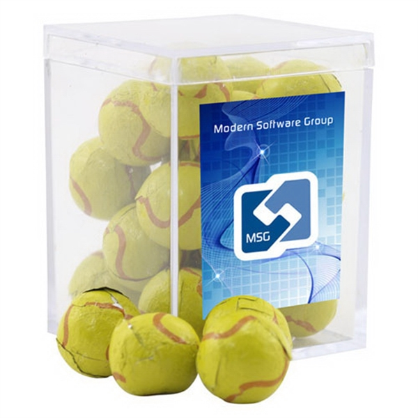 Chocolate Tennis Balls in a Clear Acrylic Square Box