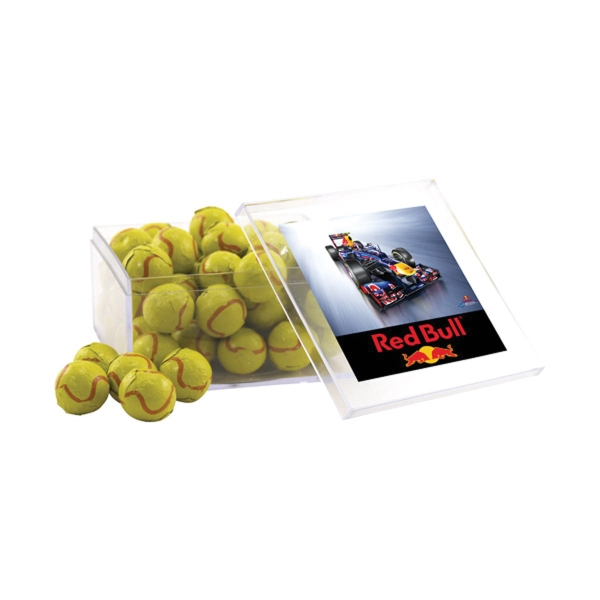 Chocolate Tennis Balls in a Clear Acrylic Large Box
