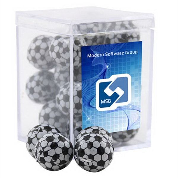 Chocolate Soccer Balls in a Clear Acrylic Square Box