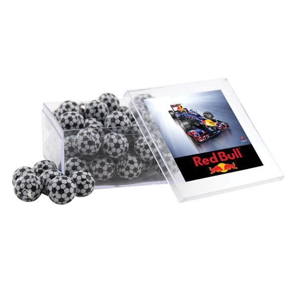 Chocolate Soccer Balls in a Clear Acrylic Large Box