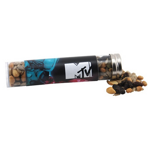 "Trail Mix in a 6 "" Plastic Tube with Metal Cap"