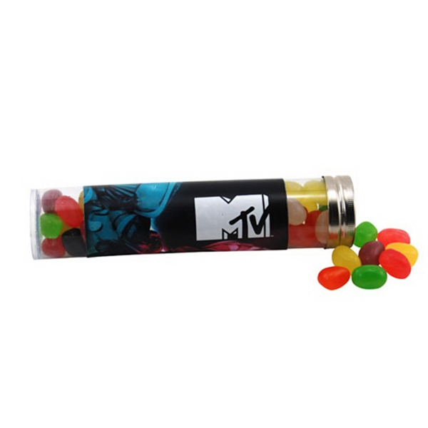 "Jelly Beans Candy in a 6 "" Plastic Tube with Metal Cap"