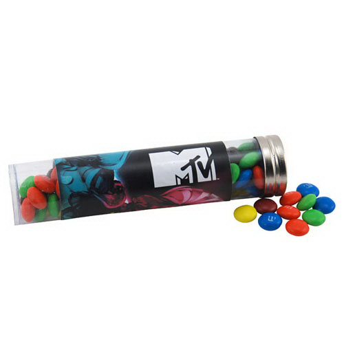 "M&M's in a 6 "" Plastic Tube with Metal Cap"