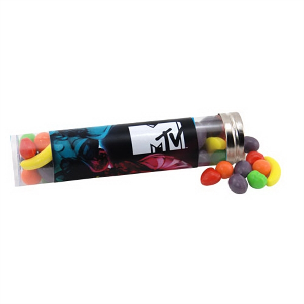 "Runts Candy in a 6 "" Plastic Tube with Metal Cap"