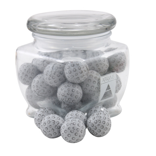 Chocolate Golf Balls in a Large Glass Jar with Lid