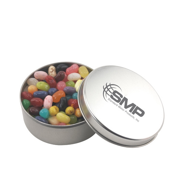 Large Round Metal Tin with Lid and Jelly Bellys