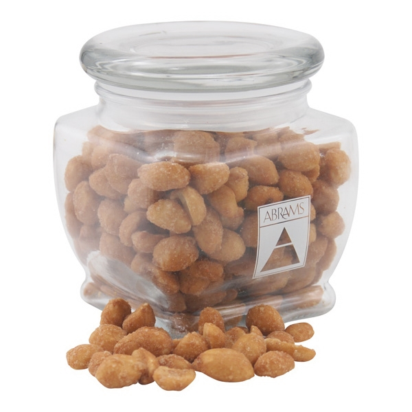 Honey Roasted Peanuts in a Large Glass Jar with Lid