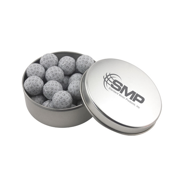 Large Round Metal Tin with Lid and Chocolate Golf Balls