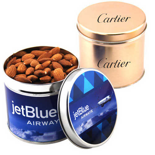 """Almonds in a 3.5"""" Round Metal Tin with Lid"""