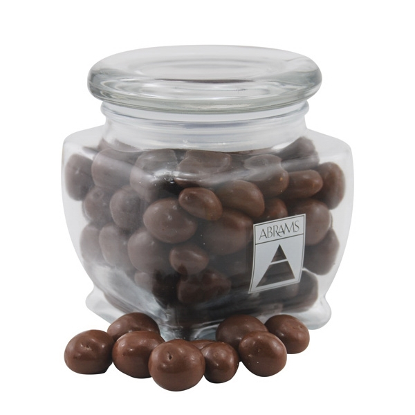 Chocolate Covered Peanuts in a Large Glass Jar with Lid