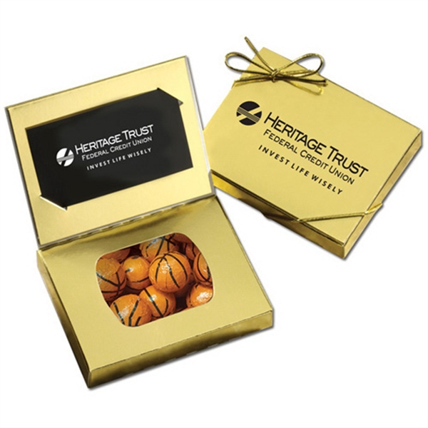 Gold Credit Card Gift Box with Chocolate Basketballs