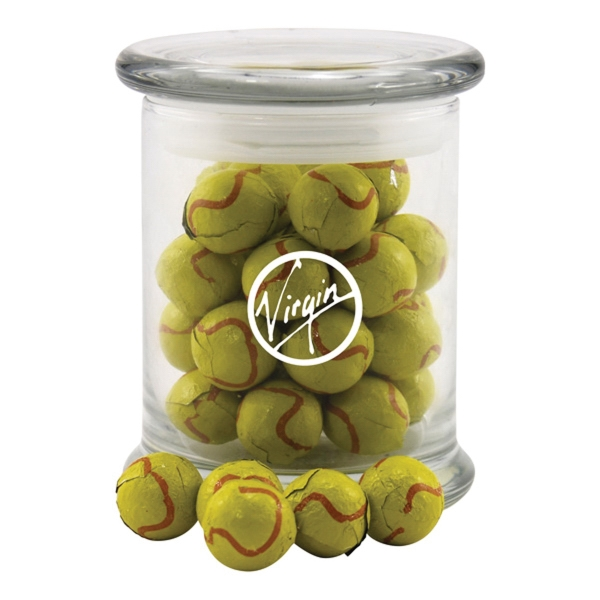 Chocolate Tennis Balls in a Large Round Glass Jar with Lid