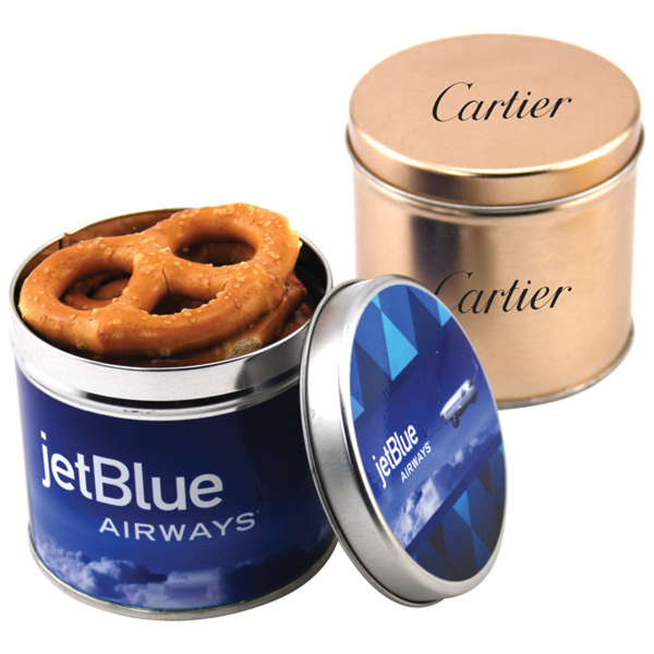 "Pretzels in a 3.5"" Round Metal Tin with Lid"
