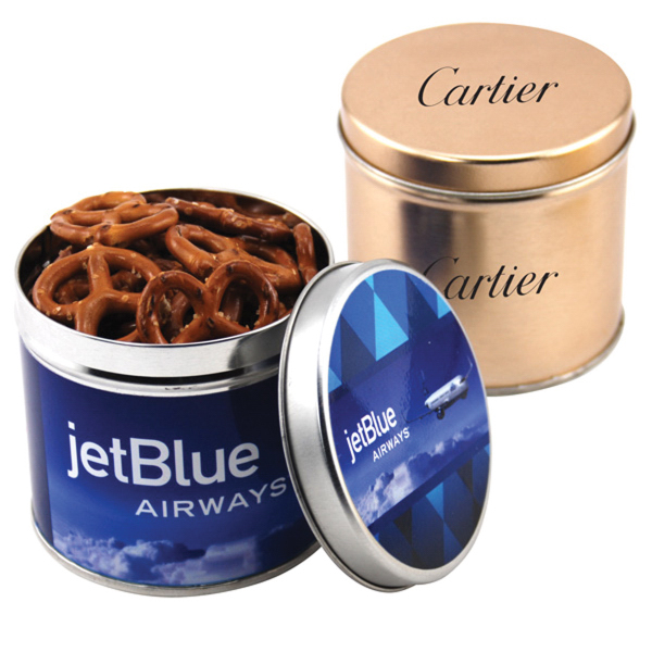 "Mini Pretzels in a 3.5"" Round Metal Tin with Lid"