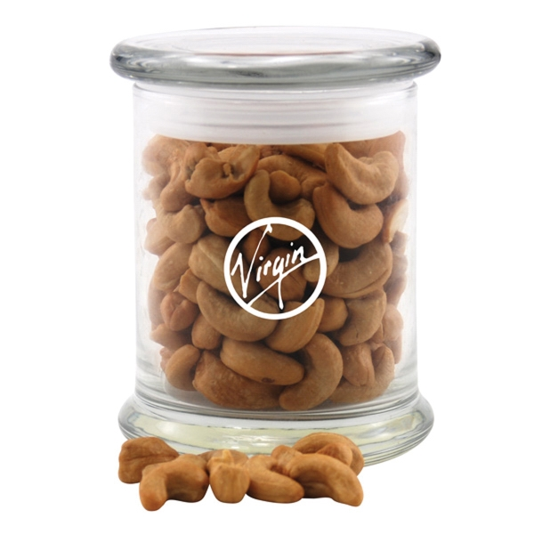 Cashews in a Large Round Glass Jar with Lid