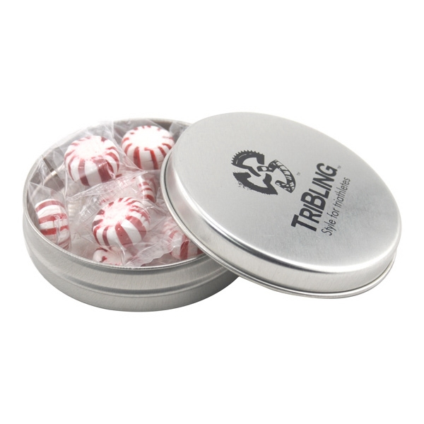 Round Metal Tin with Lid and Starlight Peppermints