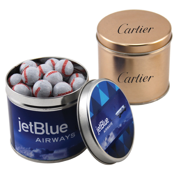"Chocolate Baseballs in a 3.5"" Round Metal Tin with Lid"