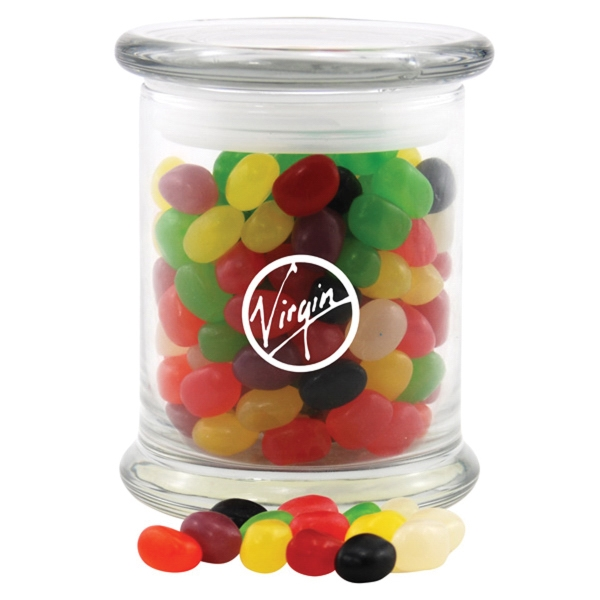 Jelly Beans Candy in a Large Round Glass Jar with Lid