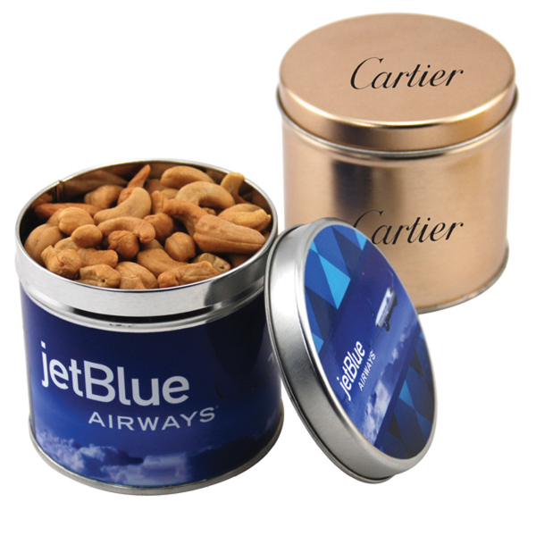 "Cashews in a 3.5"" Round Metal Tin with Lid"