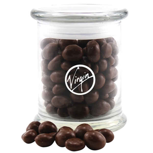Large Round Glass Jar with Lid-Chocolate Covered Peanuts