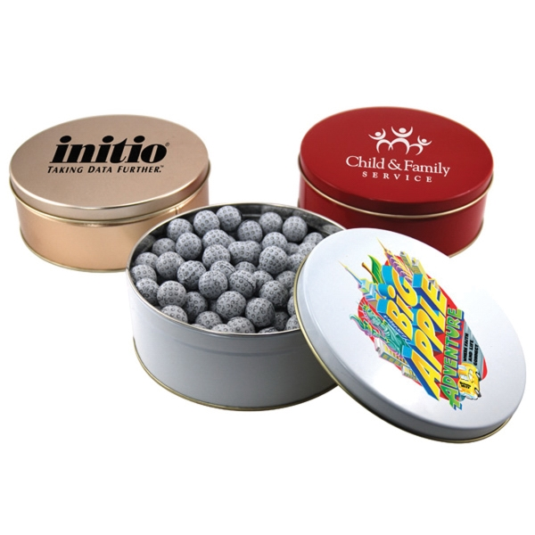 "Chocolate Golf Balls in a Round Tin with Lid-7.25"" D"