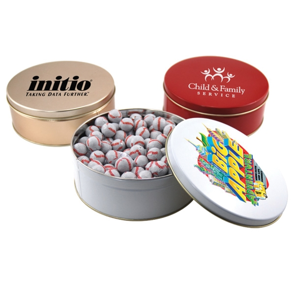"Chocolate Baseballs in a Round Tin with Lid-7.25"" D"
