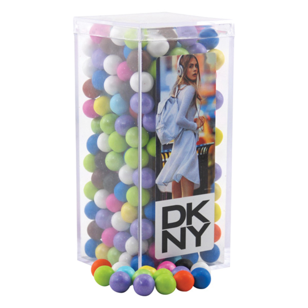 Sixlets in a Clear Acrylic Square Tall Box