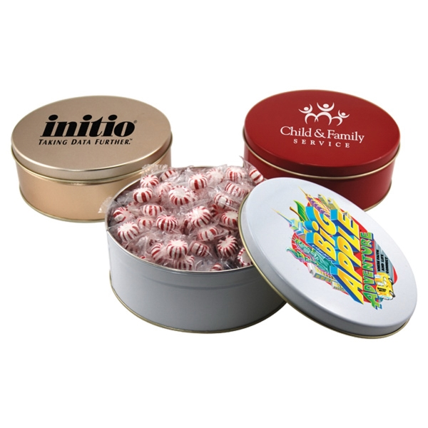 "Starlight Mints in a Round Tin with Lid-7.25"" D"
