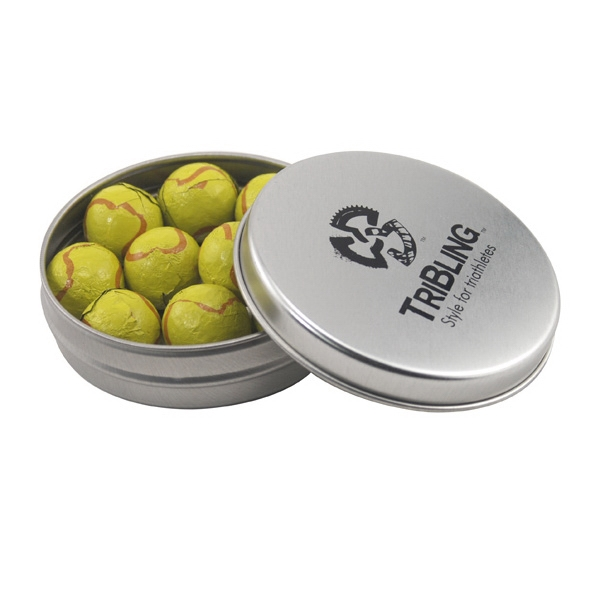 Round Metal Tin with Lid and Chocolate Tennis Balls