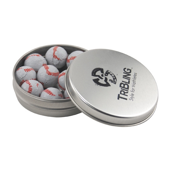 Round Metal Tin with Lid and Chocolate Baseballs