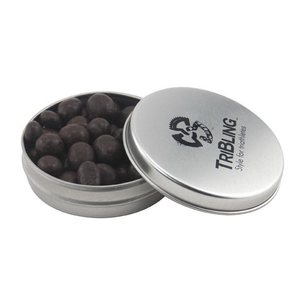 Round Metal Tin with Lid and Chocolate Espresso Beans