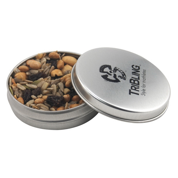 Round Metal Tin with Lid and Trail Mix