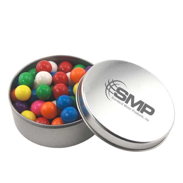 Large Round Metal Tin with Lid and Gumballs