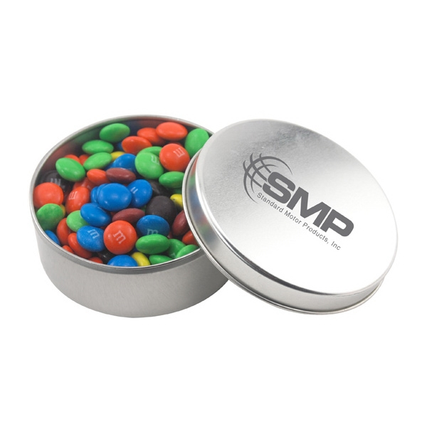 Large Round Metal Tin with Lid and M&M's