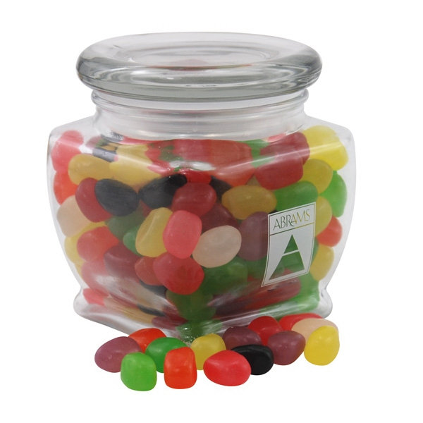 Jelly Beans Candy in a Large Glass Jar with Lid