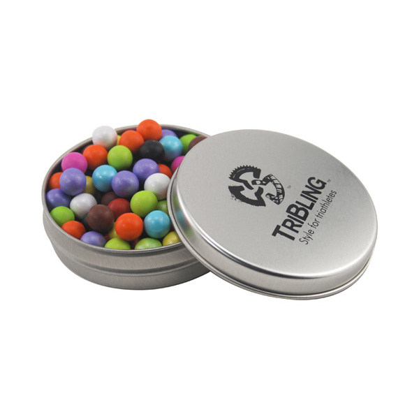 Round Metal Tin with Lid and Sixlets