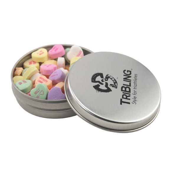 Round Metal Tin with Lid and Conversation Hearts